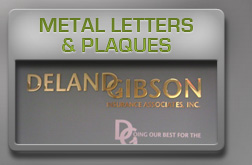 metal letters and plaques